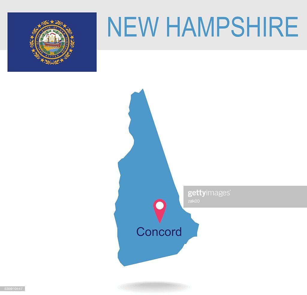USA state Of New Hampshire's map and Flag : Vector Art