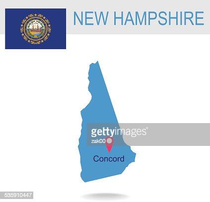 EUA estado de New Hampshire de mapa e a bandeira : Arte vetorial