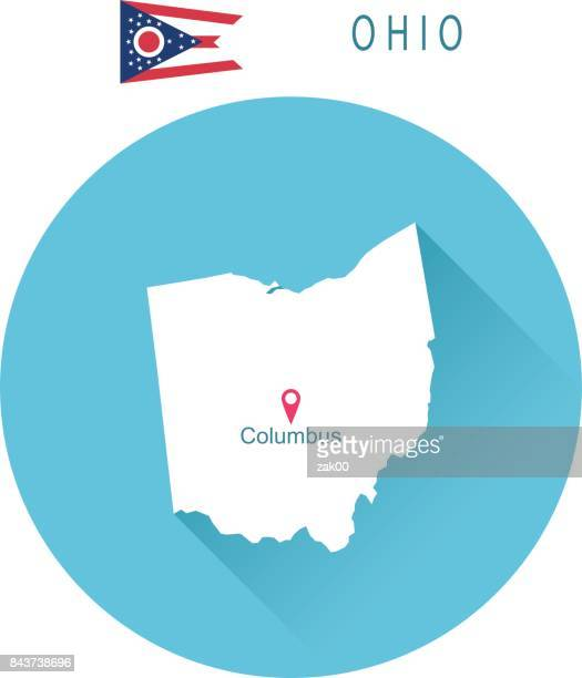USA state Of Ohio's map and Flag