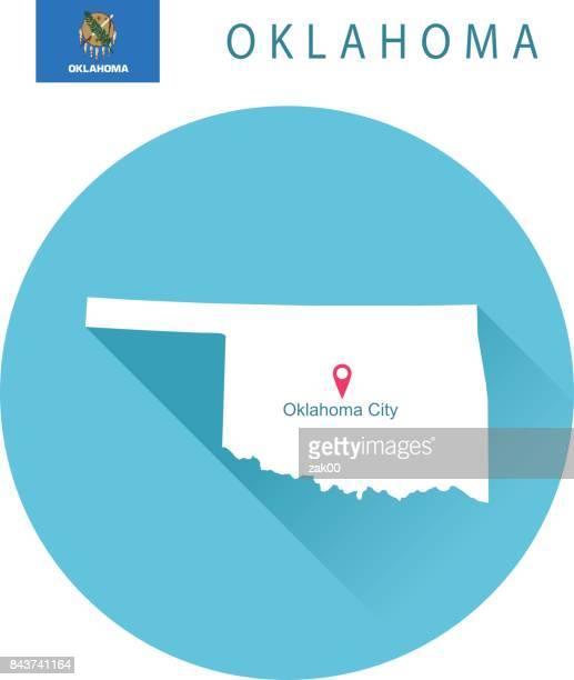 USA state Of Oklahoma's map and Flag
