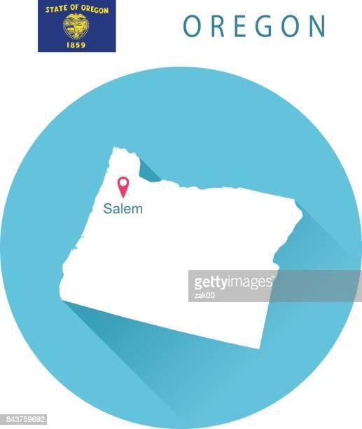 USA state Of Oregon's map and Flag