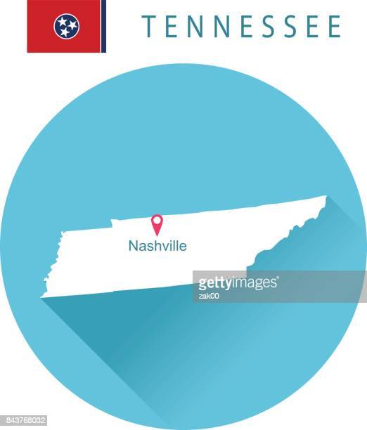 USA state Of Tennessee's map and Flag