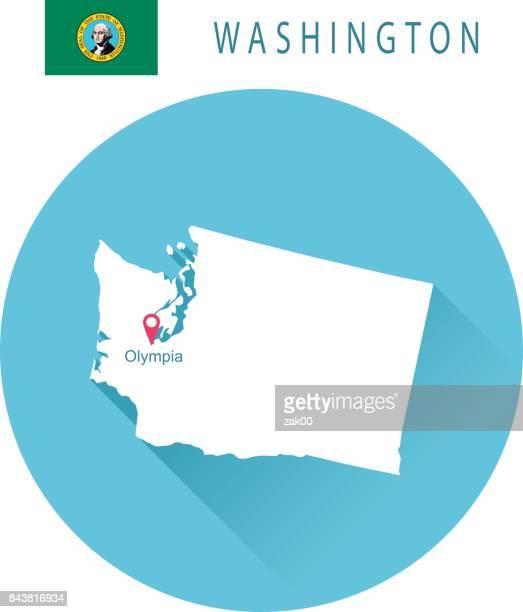 USA state Of Washington's map and Flag