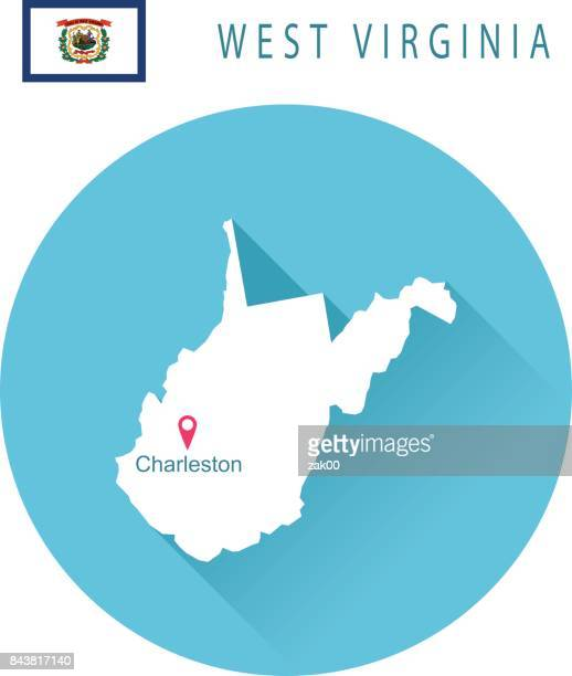 USA state Of West Virginia's map and Flag