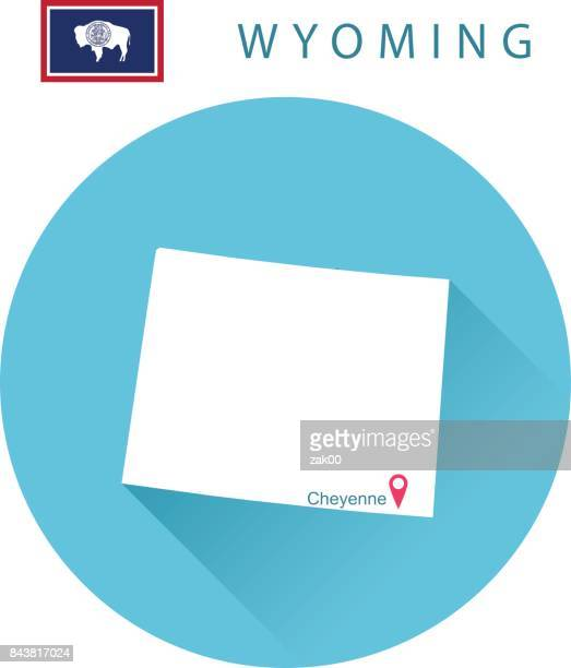 USA state Of Wyoming's map and Flag