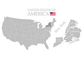 States of America territory on white background. Separate state. New York state. Separate boroughs. Vector illustration