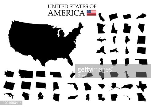 States of America territory on white background. Separate states. Vector illustration : stock vector