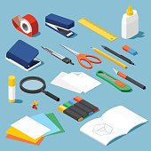 Isometric office stationery set. Collection includes adhesive tape, stapler, ruler, tube glue, hole puncher, dividers, scissors, pen, eraser, knife, magnifier, open book, paper, marker.