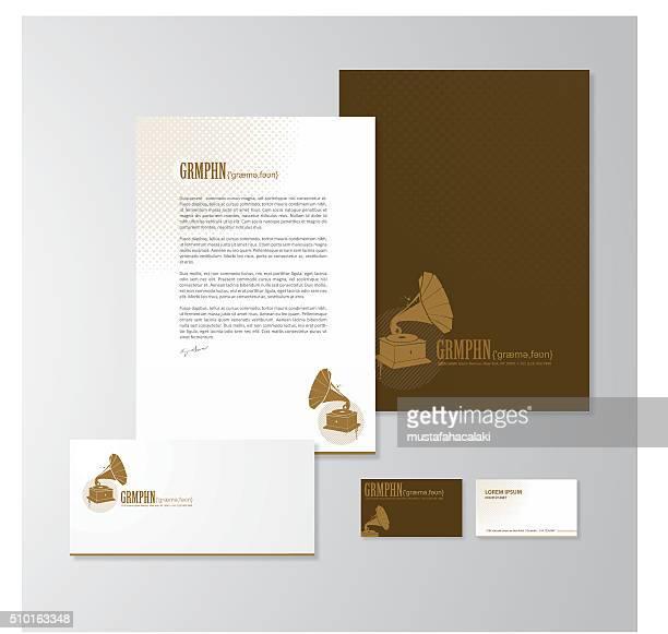 Gramófono con un diseño de papelería