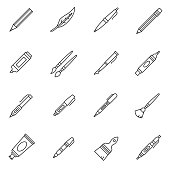 Stationery icons set. School supplies, thin line design. Tools for writing and drawing, linear symbols collection. isolated vector illustration.