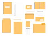 Stationery mockup set for corporate identity design. Spiral notebooks, envelopes, folder isolated on white background, mock-up