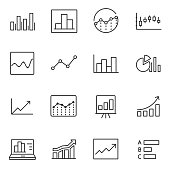 Statistic icons set. linear style. Line with Editable stroke