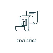 Statistical report,statistics vector line icon, outline concept, linear sign