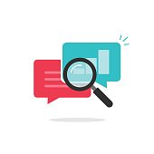 Statistics research icon vector, flat style analysis data in bubble speeches with growth graph, text symbol and magnifier, analytics icon, analyzing chat information, explore
