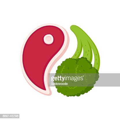 Steak and broccoli : stock vector