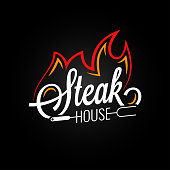 steak house logo with fire on black background 8 eps