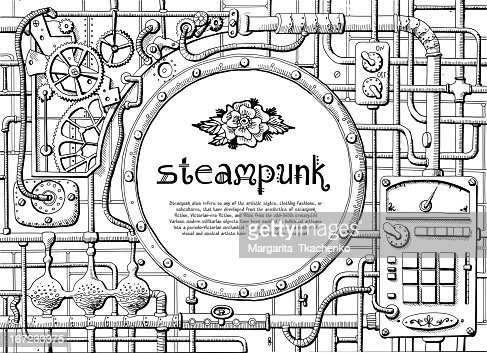 Steampunk Circle Frame With Multiple Machine Images Around Vector ...