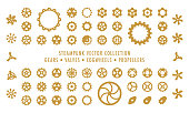 Collection of Steampunk styled vector elements isolated on white background