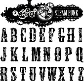 Steampunk Font, illustration.