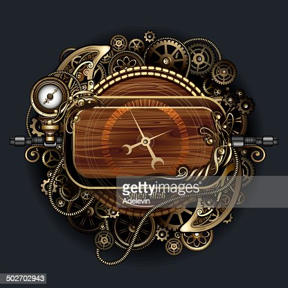 Steampunk Futuristic Clock Vector Art | Getty Images