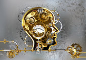 Conceptual, mechanical, human head with antique manometer and metal gears against gray industrial background. Steampunk style.