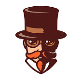 Steampunk man portrait in stylized comics style. Gentleman with mustache in top hat and goggles. Vintage vector illustration.