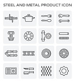 Steel and metal product icon set.
