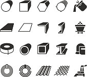 Steel pipe and roll steel metal product vector icons. Profile and bar, roll and pipe steel for construction illustration