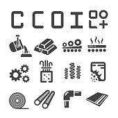 steel,iron icon set,vector illustration