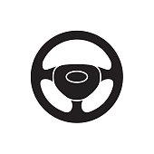 Steering wheel icon. Isolated black symbol car steering wheel on white background. Vector illustration