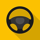 Steering wheel icon isolated on yellow background. Car wheel control silhouette, Black auto part driving in flat style. Vector illustration