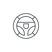 Steering wheel thin line icon. Linear vector illustration. Pictogram isolated on white background