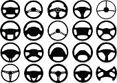 Set of different steering wheels isolated