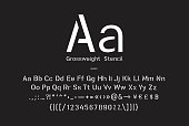 Stencil pattern latin typeface, editable font with uppercase, lowercase, numbers, punctuation marks and symbol glyphs