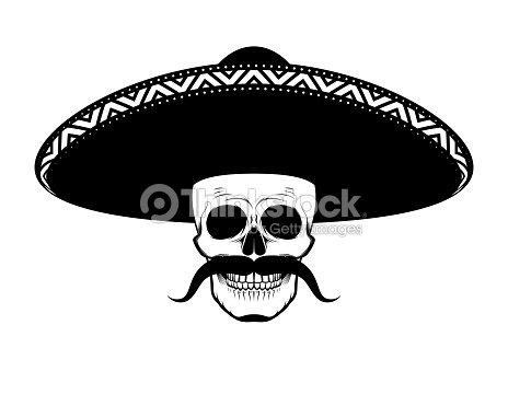 Cráneo De Plantilla En El Sombrero Con Un Bigote Arte vectorial ...