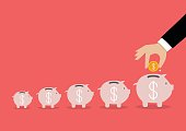 Step of business hand insert coin into the piggy bank. Financial business plan