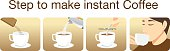 Step to make instant coffee for illustration in packaging and other