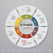 6 steps cycle chart infographics elements. EPS 10. For data presentation.