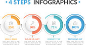 Infographic template with four round progress indicators, four steps infographics, workflow, process chart, vector eps10 illustration