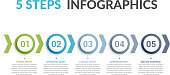 Infographic template with five steps or options, workflow or process diagram, vector eps10 illustration