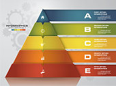 5 steps pyramid with free space for text on each level. infographics, presentations or advertising. EPS10.