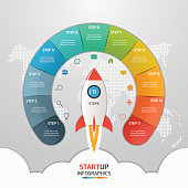 11 steps startup circle infographic template with rocket. Business concept. Vector illustration.