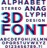 Stereoscopic stereo 3d vector letters and numbers. Colorful glitch alphabet. Typography abc with effect stereoscopic illustration