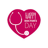 stethoscope and heart. vector illustration of happy doctors day