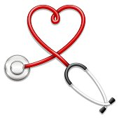 Vector 3d stethoscope-heart shape illustration