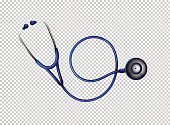 Stethoscope in blue color illustration