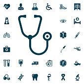 stethoscope web icon, medical set on white background. Health Care Vector illustration