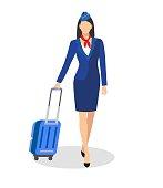 Stewardess Holding Suitcase. flying attendants ,air hostess , Vector illustration.Profession: stewardess. Isolated on white background.