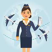 Stewardess woman in uniform with flight tickets on blue airplane background. Vector illustration