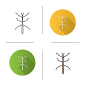 Stick bug flat design, linear and color icons set